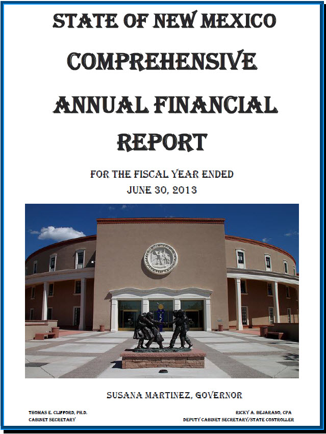 State of NM Comprehensive Annual Financial Report Image